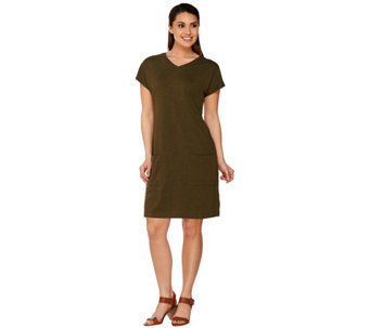 LOGO Lounge by Lori Goldstein Cotton Slub Short Sleeve Dress - A275007
