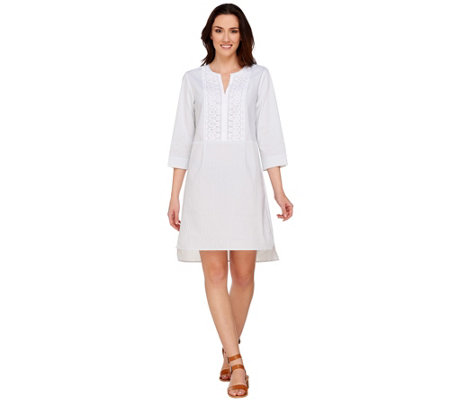 C. Wonder Striped Shirt Dress w/ Embroidered Lace Detail