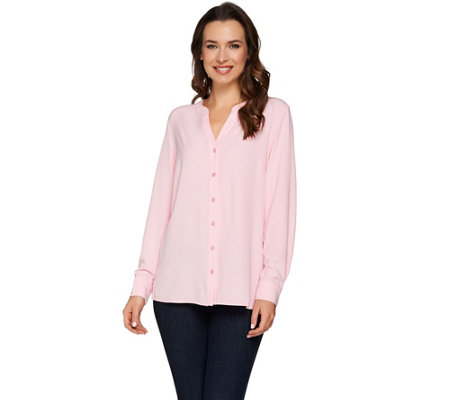 Susan Graver Stretch Woven Button Front Y-neck Shirt