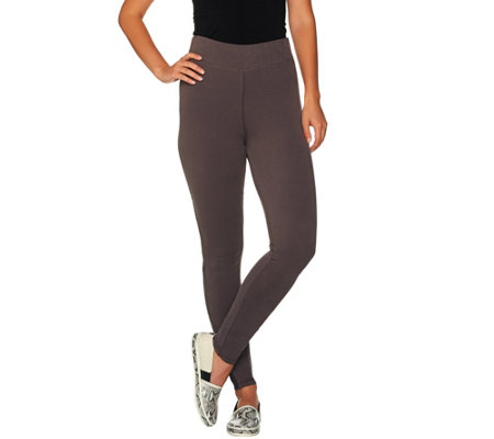 LOGO Lotus by Lori Goldstein Brushed Knit Color-Block Pull-On Pants