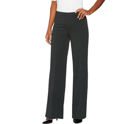 H by Halston Studio Stretch Petite Full Length Wide Leg Pants