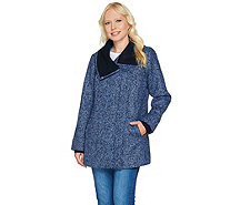 Isaac Mizrahi Live! SOHO Zip Front Coat with Sweater Knit Trim - A281207