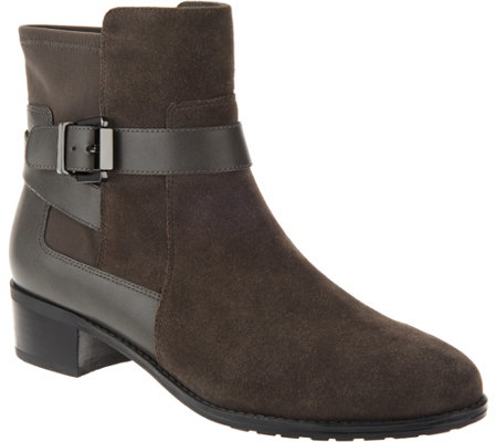 Isaac Mizrahi Live! Suede Ankle Boots with Leather Straps - Page 1 ...