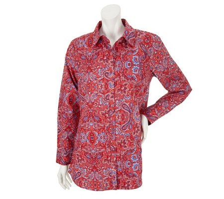 """As Is"" Liz Claiborne New York Paisley Button Down Stretch Tunic"