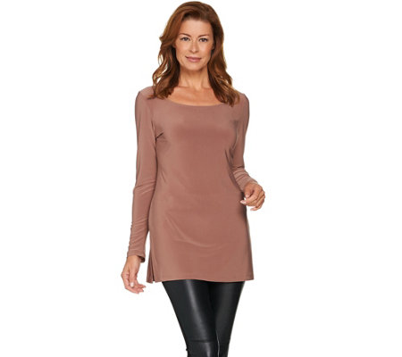 Attitudes by Renee Long Sleeve Jersey Knit Top w/ Side Slits