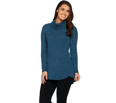 Lisa Rinna Collection Cowl Neck Sweater Tunic with Hi/Low Hem