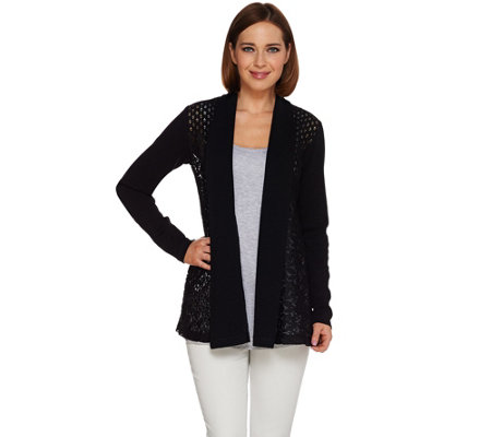 """As Is"" LOGO Lavish by Lori Goldstein Novelty Lace Cardigan"