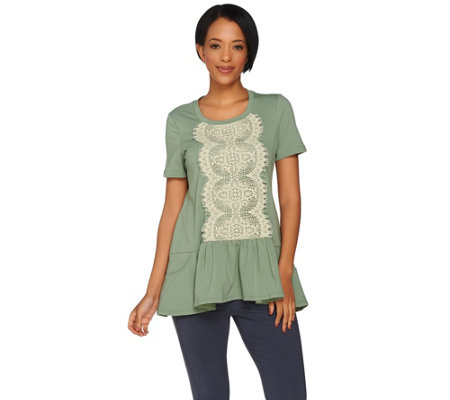 LOGO Lounge by Lori Goldstein French Terry Top with Lace Front