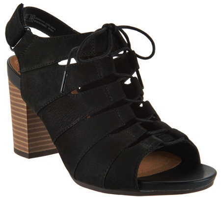 Clarks Nubuck Leather Block Heel Ghillie Sandals - Banoy Wanetta
