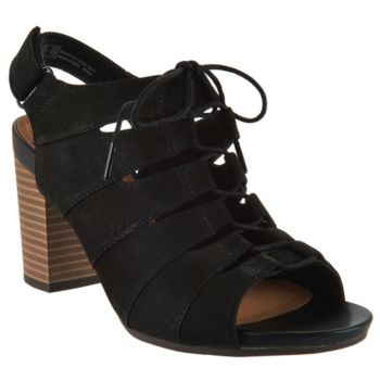 Clarks Nubuck Leather Block Heel Ghillie Sandals - Banoy Wanetta