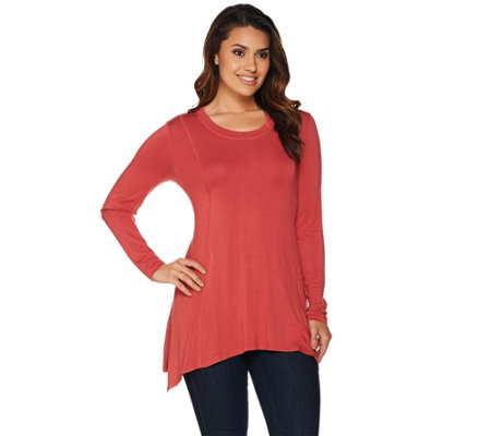 """As Is"" LOGO by Lori Goldstein Long Sleeve Solid Top with Asymmetric Hem"