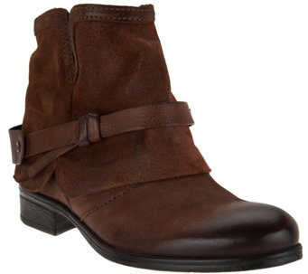 """As Is"" Miz Mooz Leather Ankle Boots w/ Strap Detail - Seymour - A290707"