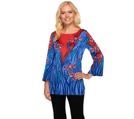 """As Is"" Bob Mackie's Art Noveau Floral Print 3/4 Sleeve Top"