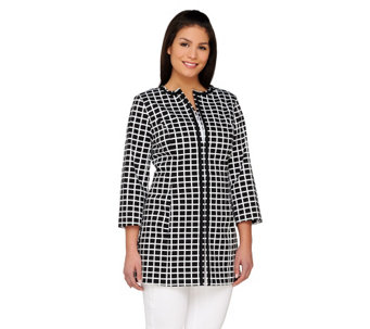 """As Is"" Dennis Basso 3/4 Sleeve Printed Coat with Hook & Eye Closure - A291107"