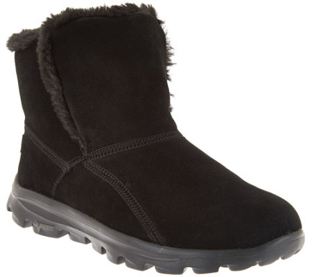"""As Is"" Skechers GOWalk Suede Faux Fur w/Goga Mat - Dazzling"