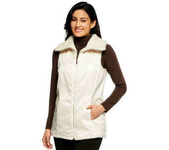 """As Is"" Dennis Basso Faux Fur Reversible to Water Resistant Zip Front Vest - A291707"
