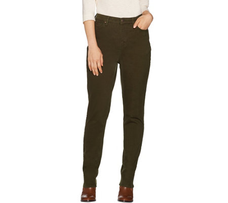 Denim & Co. Petite Color Slim Straight Leg 5-Pocket Jeans
