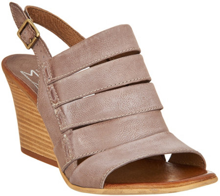"""As Is"" Miz Mooz Leather Slingback Wedge Sandals - Kenmare"