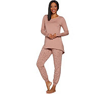 AnyBody Loungewear Petite Cozy Knit Novelty Print PJ Set - A298207