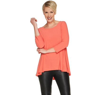 Attitudes by Renee Moss Crepe Shirred Back Top