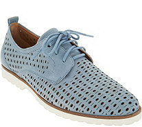 Earth Perforated Leather Lace-up Shoes - Camino - A304207