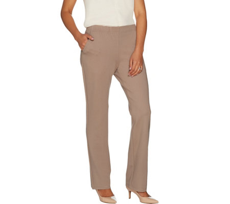 """As Is"" Dennis Basso Knit Straight Leg Pants with Pockets"