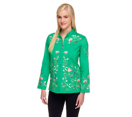 Quacker Factory Embroidered Mandarin Collar Stretch Jacket