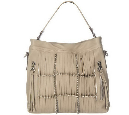B. Makowsky Glove Leather Convertible Hobo with Fringe & Chain