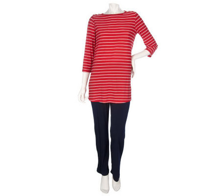 Susan Graver Liquid Knit Striped Tunic and Pant Set