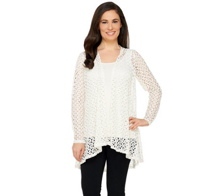 Joan Rivers Drape Front Crochet Cardigan with Long Sleeves