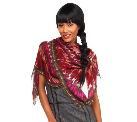 Luxe Rachel Zoe Bursting Feather Printed Square Scarf