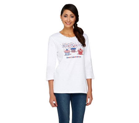 Quacker Factory Sweet Independence 3/4 Sleeve T-Shirt
