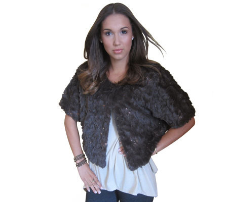 Faux Fur Convertible Capelet with Sequin Detail by Sure Couture