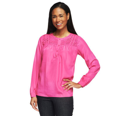 Isaac Mizrahi Live! Long Sleeve Lattice Yoke Henley Top