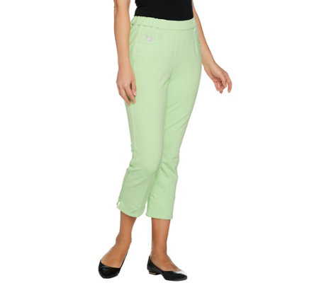 Quacker Factory DreamJeannes Crop Pants w/Rhinestone Zipper