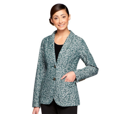 Isaac Mizrahi Live! Scroll Jacquard Notch Collar Blazer