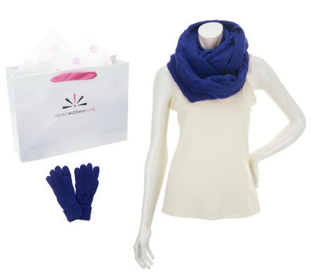 Isaac Mizrahi Live! Eternity Scarf and Glove Set with Gift Bag