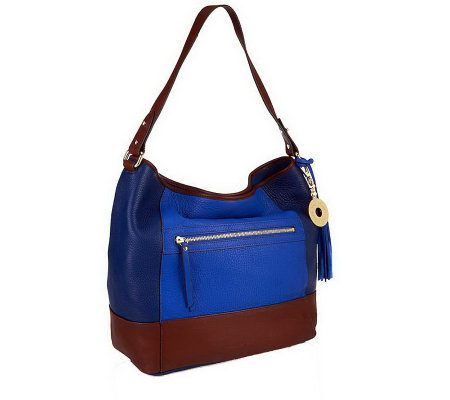 """As Is"" Isaac Mizrahi Live! Bridgehampton Colorblock Leather Hobo"