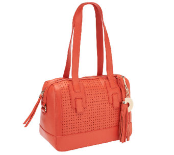 Isaac Mizrahi Live! Bridgehampton Perforated Leather Satchel - A253908