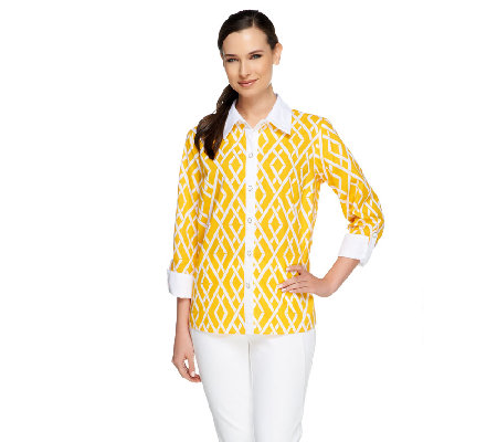 Bob Mackie's Bamboo Trellis Printed Button Down Shirt