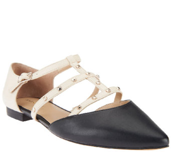 Sole Society T-strap Pointed Toe Flats w/ Studs - Susie - A255808