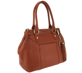 Isaac Mizrahi Live! Bridgehampton Pebble Leather Satchel - A256008