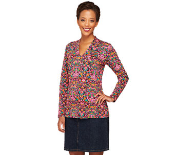 Liz Claiborne New York Printed V-Neck Knit Long Sleeve Top - A258108