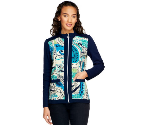"""As Is"" Susan Graver French Terry Zip Front Printed Jacket w/Pockets"