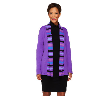Bob Mackie's Open Front Striped Shawl Collar Cardigan
