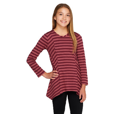 LOGO Littles by Lori Goldstein Stripe Knit Top with Asymmetric Hem