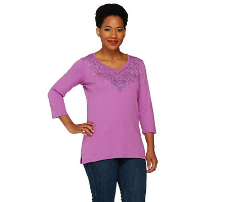 Quacker Factory Studded V-neck 3/4 Sleeve T-shirt with Flower Design