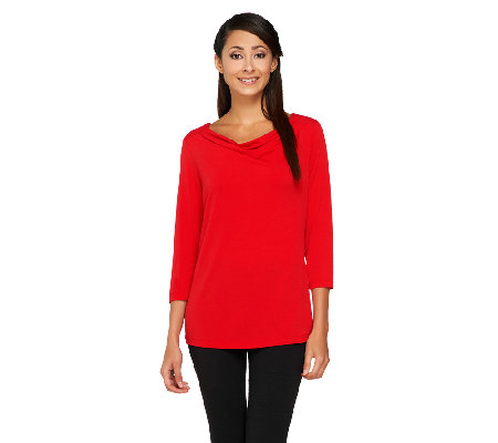Susan Graver Liquid Knit Drape Neck 3/4 Sleeve Top