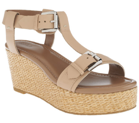 """As Is"" G.I.L.I. Leather T-Strap Platform Wedge Sandal -Susanne"
