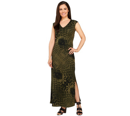 G.I.L.I. Petite V-neck Printed Knit Maxi Dress